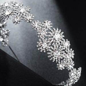 Alloy Rhinestones Flower Embellishment Princess Bridal Headbands