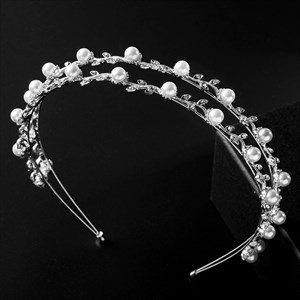 Alloy Leaf Wavy Princess Bridal Headbands With Pearls
