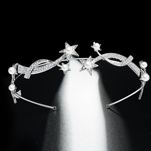 Alloy Star Wavy Bridal Headbands With Pearls