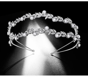 Alloy Double Leaf Princess Bridal Headbands With Rhinestone Accents