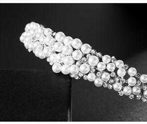 Dramatic Alloy Rhinestones Princess Bridal Headbands With Pearls