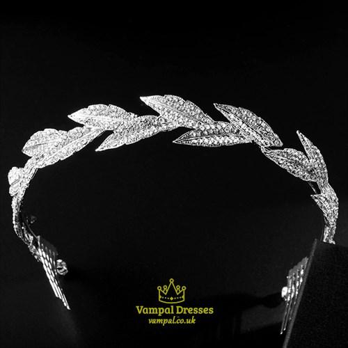 Alloy Leaf Rhinestone Princess Headpieces Bridal Headbands