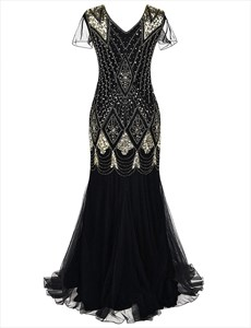 Vintage V-Neck Floor Length Sequin Maxi Dress With Sleeves