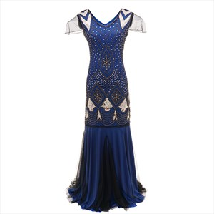 Mermaid Sequin Handmade Embroidery Maxi Dress With Short Sleeves