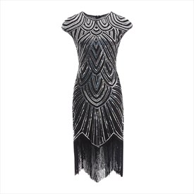 Sequin Handmade Embroidery Cap Sleeves Midi Dresses With Tassels