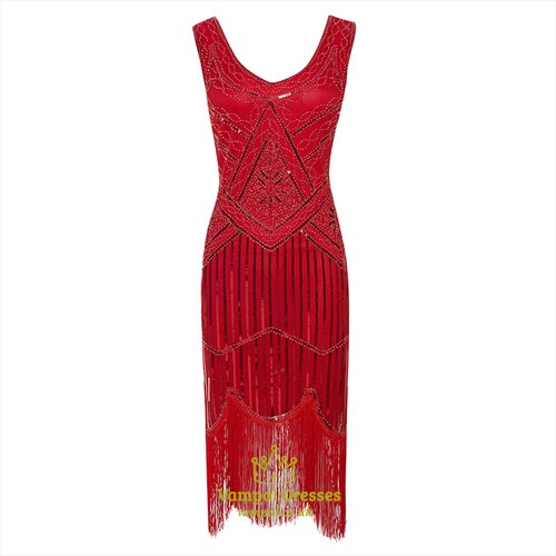 Sequin Embroidery V-Neck Sleeveless Party Dress With Tassels