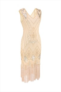 Beaded Embroidery V-Neck Sleeveless Party Dress With Tassels