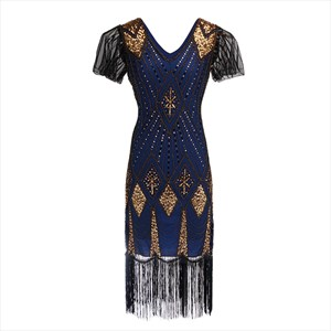 Sequin Embroidery V-Neck Short Sleeves Party Dress With Tassels