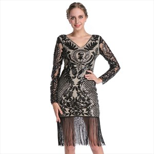 Sequin Embroidery V-Neck Long Sleeves Party Dress With Tassels