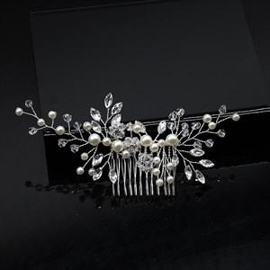 Handmade Pearl Crystal Hair Comb With Rhinestones