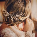 Hand Knit Hair Comb With Pearls