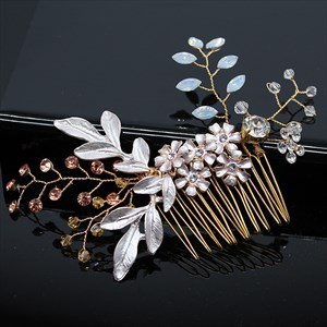 Exquisite Alloy Flower Hair Comb With Rhinestone Accents