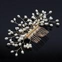 Handmade Knit Copper Pearl Hair Comb
