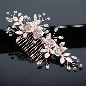 Rose Leaf Flower Hair Comb With Rhinestone Accents