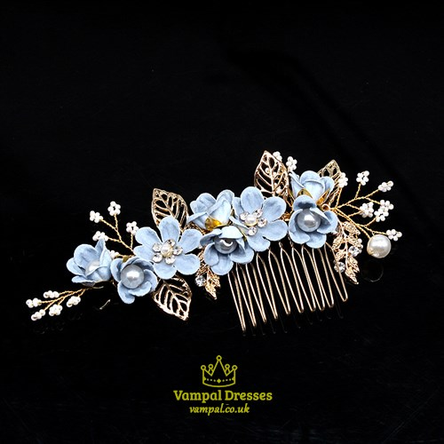 Alloy Handmade Flower Hair Comb With Pearls