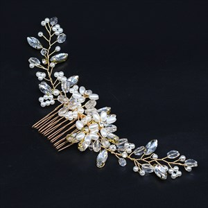 Handmade Knit Crystal Hair Comb With Pearls