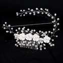 Polymer Clay Flower Hair Comb With Pearls