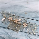 Pearl Flower Alloy Leaf Hair Comb With Rhinestone Accents