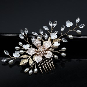 Pearl Flower Hair Comb With Rhinestone Accents