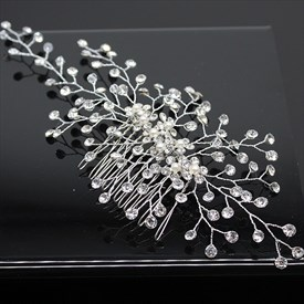 Handmade Hair Comb With Rhinestone Accents