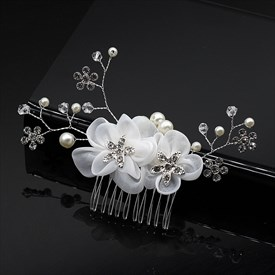 Alloy Chiffon Flower Hair Comb With Rhinestone Accents