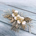 Alloy Crystal Hair Comb With White Flowers