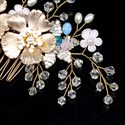 Alloy Flower Pearl Crystal Hair Comb