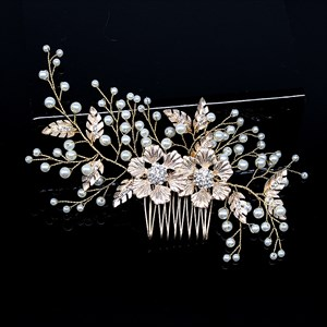 Alloy Leaf Pearl Hair Comb With Rhinestone Accents