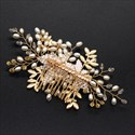 Alloy Hand-Knitted Rice Bead Leaf Hair Comb