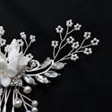 Handmade Rice Bead Ceramic Flower Hair Comb With Rhinestone Accents