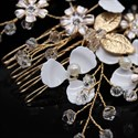 Alloy Crystal Headpieces Hair Comb With White Flowers