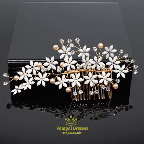 Flower Hair Comb With Rhinestone Accents