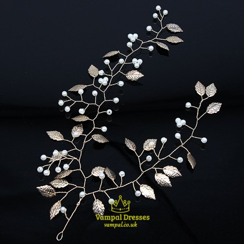 Alloy Gold Pearl Headpieces Leaf Hair Vine