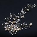 Leaf Pearl Flower Headband Hair Vine With Rhinestone Accents
