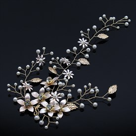 Leaf Pearl Flower Headband Hair Vine With Rhinestone Accents
