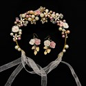 Hand-Knitted Glazed Ceramic Flower Headband Hair Vine