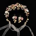 Hand-Knitted Glazed Ceramic Flower Headband Hair Vine