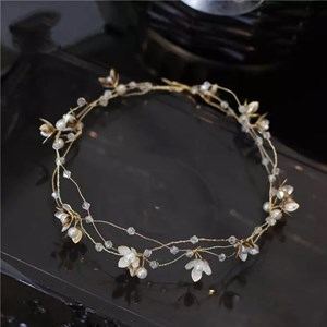 Crystal Flower Headband With Pearl Accents