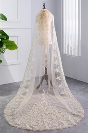 One-Tier Lace Applique Embellished Wedding Veil