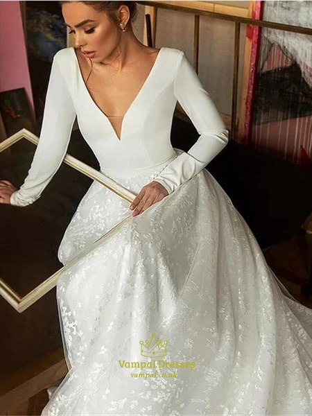 Ivory V-Neck Lace Overlay Backless Wedding Dress With Long Sleeves