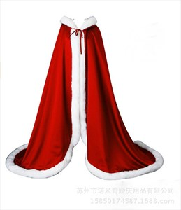 Double Layer Satin Winter Wedding Cloak With Faux Fur Trim
