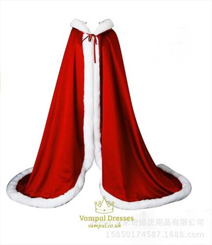 Double Layer Satin Winter Wedding Cloak With Faux Fur Trim