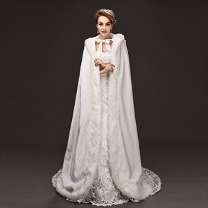 Faux Fur Winter Wedding Cloak Hooded Bridal Wraps