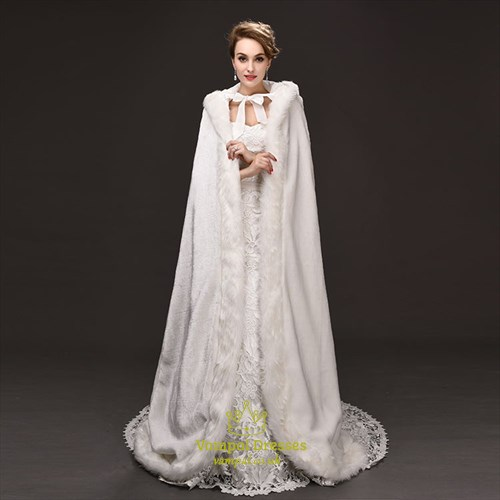 Faux Fur Winter Wedding Cloak Hooded Bridal Wraps