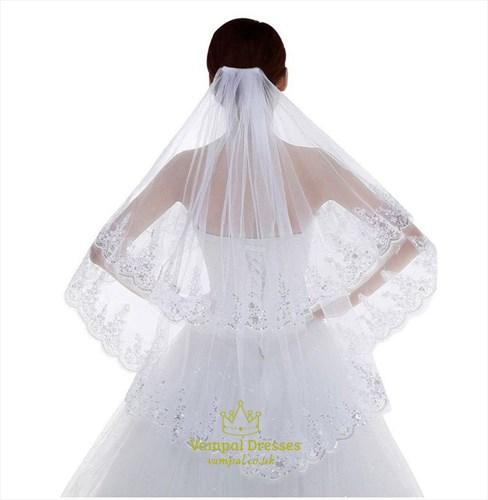 Double Layer Sequin Lace Applique Wedding Veil