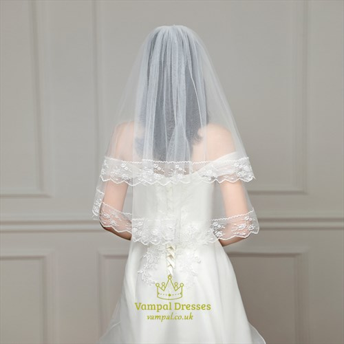 Double Layer Tulle Wedding Veil With Lace Applique Trim