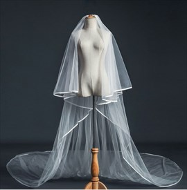 Hem Edge Tulle Super Long Wedding Veil