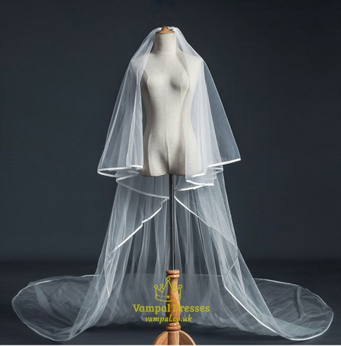Hem Edge Tulle Super Long Wedding Veil