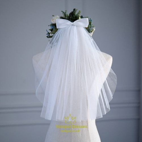 One-Tier Tulle Short Wedding Veil With Bow