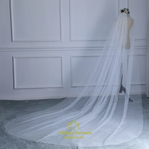 Glittery Star One-Tier Wedding Veil